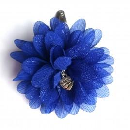 Haarspeld grote bloem kobalt