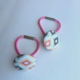 Setje knoopelastiekjes ruit mint/roze