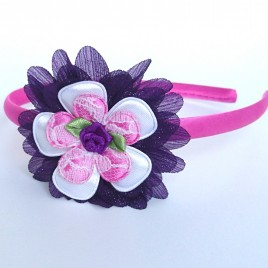 Diadeem roze met paarse bloem
