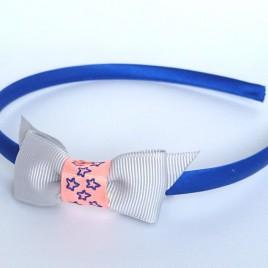 Diadeem kobalt blauw en grijze strik