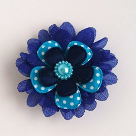 Haarlokspeld kobalt blauw, aqua polkadot