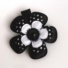Haarlokspeld zwart wit polkadot