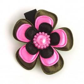 Haarlokspeld legergroen,  roze