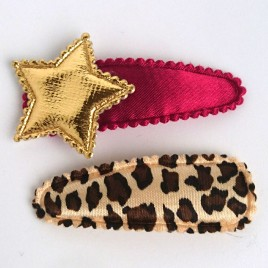 Haarspeldjes bordeaux ster/luipaardprint