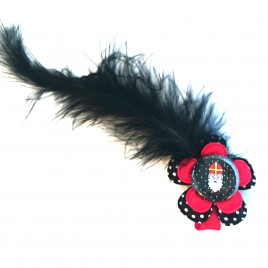 Sinterklaas haarlokspeld zwart/rood