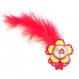 Sinterklaas haarlokspeld rood/geel