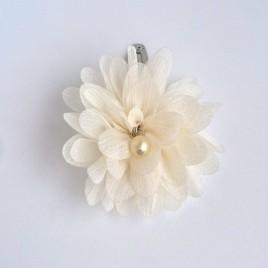 Haarlokspeld grote bloem creme