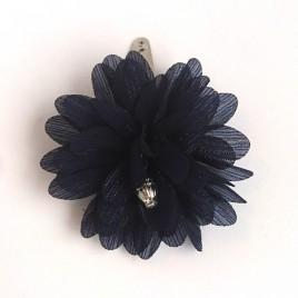Haarspeld grote bloem donkerblauw