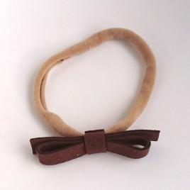 Elastische haarband grote strik bruin 1