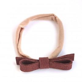 Elastische haarband grote strik, bruin 2