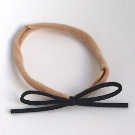 Elastisch haarbandje kleine strik, zwart