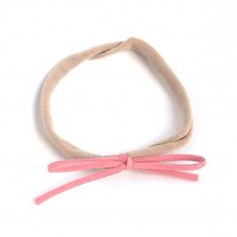 Elastisch haarbandje kleine strik, oudroze