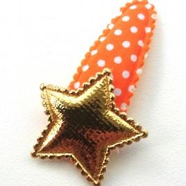 Haarspeldje oranje polkadot met ster goud