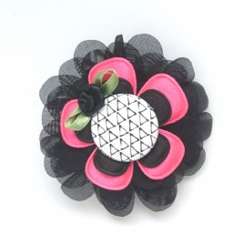 Haarlokspeld zwart, roze, monochroom