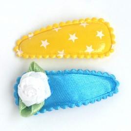 Haarspeldjes geel ster/blauw roosje