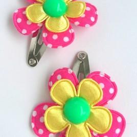 Haarspeldjes roze polkadot, geel, groen
