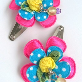 Haarspeldjes roze, blauw polkadot
