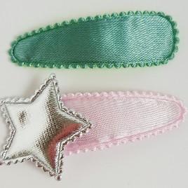 Haarspeldjes groen, lichtroze ster