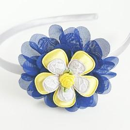 Diadeem grijs, blauwe bloem