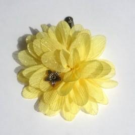 Haarspeld grote bloem geel