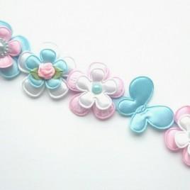 Knot-strik lichtblauw en roze