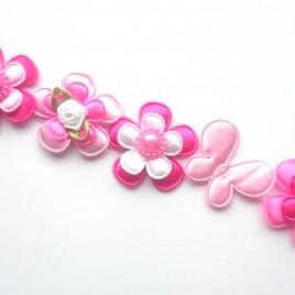 Knot-strik wit en roze