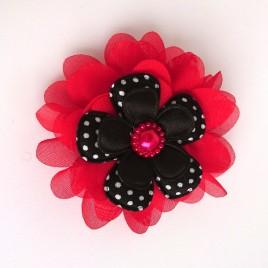Haarlokspeld rood, zwart polkadot