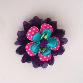 Haarlokspeld paars, roze polkadot