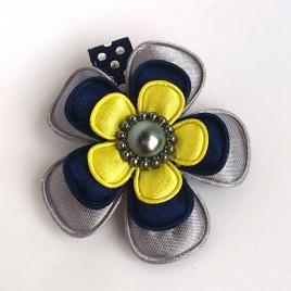 Haarlokspeld grijs, donkerblauw, geel