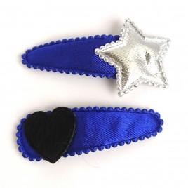 Haarspeldjes kobaltblauw ster/hart