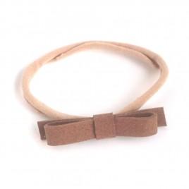 Elastische haarband grote strik, bruin 3