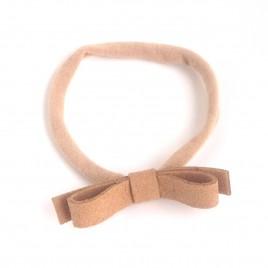 Elastische haarband grote strik, beige 1