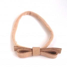 Elastische haarband grote strik, beige 2