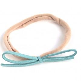 Elastisch haarbandje kleine strik, lichtblauw