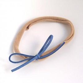 Elastisch haarbandje kleine strik, blauw