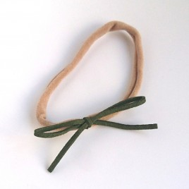 Elastisch haarbandje kleine strik, mosgroen