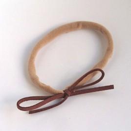 Elastisch haarbandje kleine strik, bruin