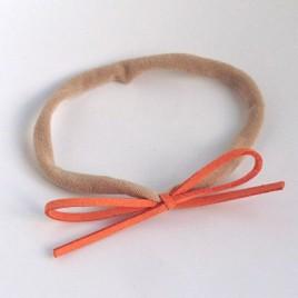 Elastisch haarbandje kleine strik, oranje
