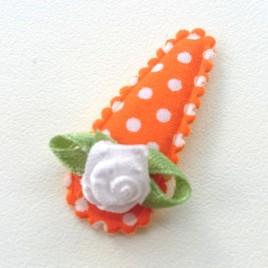 Haarspeldje oranje polkadot met roosje (3cm)