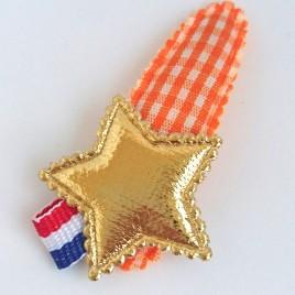 Haarspeldje oranje ruit ster goud label