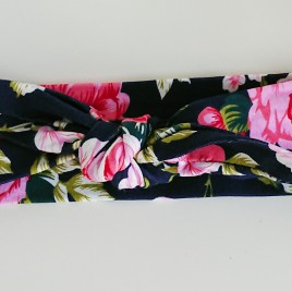 Wrap haarband blauw bloemen