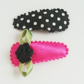 Haarspeldjes zwart polkadot, fuchsia