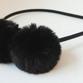 Diadeem pluche zwart