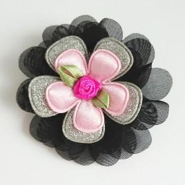 Haarlokspeld zwart, zilver, roze