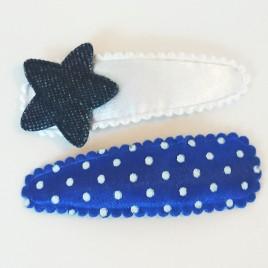Haarspeldjes wit denim, blauw polkadot