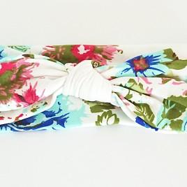 Wraphaarband wit met bloemen