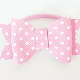 Haarelastiek roze polkadot strik