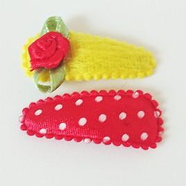 Haarspeldjes rood polkadot, geel pluche