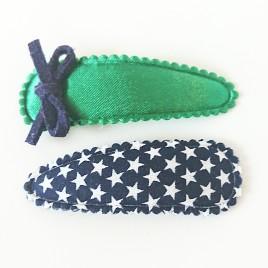Haarspeldjes groen strik, blauw ster
