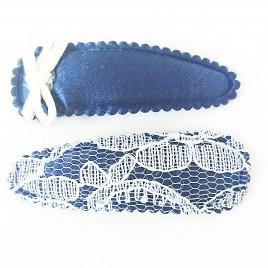 Haarspeldjes donkerblauw strik, donkerblauw kant